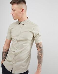 Облегающая рубашка с короткими рукавами Only & Sons - Бежевый