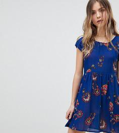Свободное платье с цветочным принтом Brave Soul Petite - Синий
