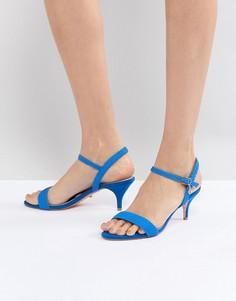 Ярко-синие босоножки из двух частей на каблуке-рюмочке Dune - Синий