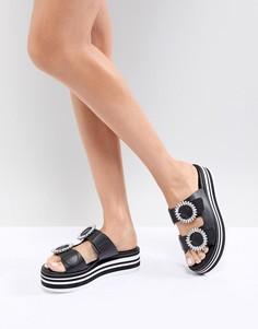 Сандалии-слипоны с декорированными пряжками ALDO - Черный