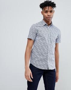 Рубашка с короткими рукавами и цветочным принтом Only & Sons - Синий