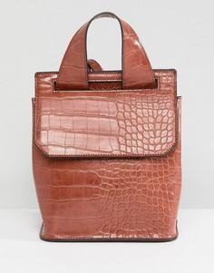 Светло-коричневый рюкзак с рисунком крокодиловой кожи ASOS - Рыжий