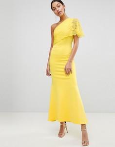 Платье макси на одно плечо с кружевным верхним слоем Club L - Желтый