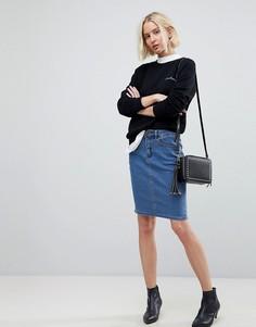 Джинсовая юбка-карандаш с завышенной талией Vero Moda - Синий