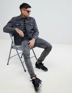 Черная джинсовая куртка с вышитыми розами boohooMAN - Черный