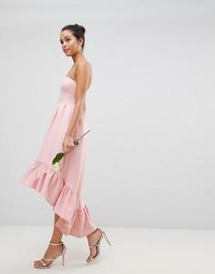 Асимметричное платье макси бандо с оборкой Club L - Розовый