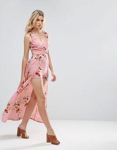 Платье макси с цветочным принтом и шортами Parisian - Розовый