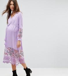 Платье миди с вышивкой и поясом ASOS Maternity - Фиолетовый