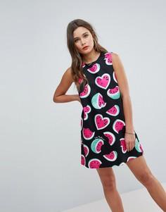 Платье без рукавов Love Moschino Juicy Watermelons - Черный