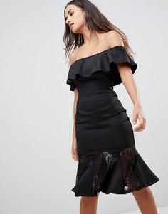 Платье с кружевной баской Ax Paris - Черный