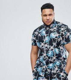 Облегающая рубашка с принтом пальм ASOS DESIGN Plus - Черный