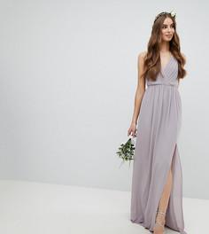 Платье макси с плиссировкой TFNC Tall - Серый