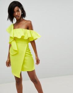 Асимметричное коктейльное платье мини с запахом и оборками ASOS - Желтый