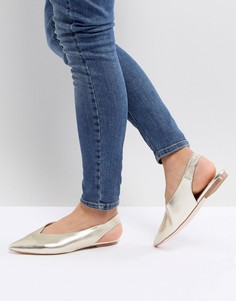 Туфли на плоской подошве с острым носком Faith Annike - Золотой