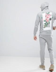 Облегающие джоггеры и худи с цветочным принтом ASOS - Серый