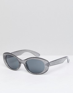 Черные овальные солнцезащитные очки с затемненными стеклами ASOS - Черный