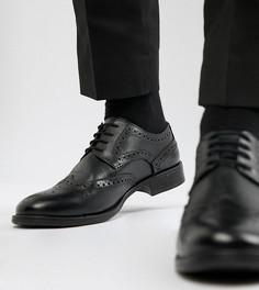 Черные кожаные броги для широкой стопы Frank Wright - Черный