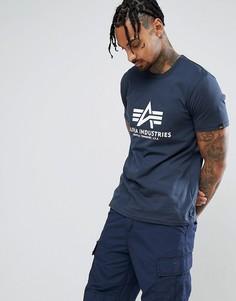 Темно-синяя футболка с логотипом Alpha Industries - Темно-синий