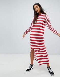 Платье-футболка макси в комбинированную полоску ASOS DESIGN ultimate - Мульти