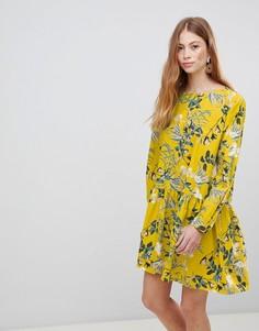 Свободное платье с цветочным принтом Vila - Золотой