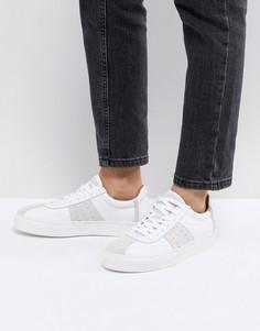 Кожаные кроссовки с замшевыми вставками Selected - Белый