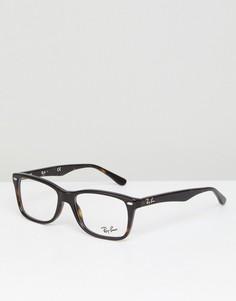 Очки-вайфареры с прозрачными стеклами и черепаховой оправой Ray-Ban 0RX5228 - Коричневый