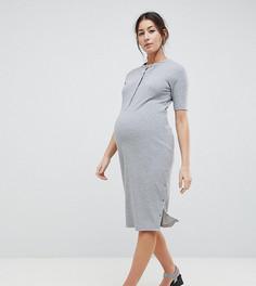 Платье миди с пуговицами ASOS DESIGN Maternity - Серый
