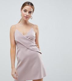 Платье А-силуэта с запахом и пуговицами ASOS DESIGN Petite - Бежевый