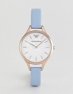 Часы с голубым кожаным ремешком Emporio Armani AR11109 32 мм - Синий