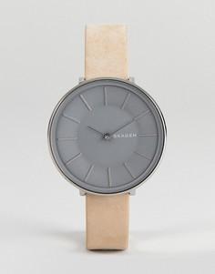 Часы с телесным кожаным ремешком Skagen SKW2691 Karolina - 38 мм - Бежевый
