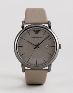 Серые часы с кожаным ремешком Emporio Armani AR11116 43 мм - Серый