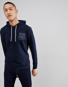 Трикотажный худи с логотипом Jack & Jones - Темно-синий