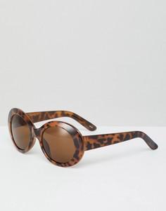 Овальные солнцезащитные очки в черепаховой оправе Monki - Коричневый