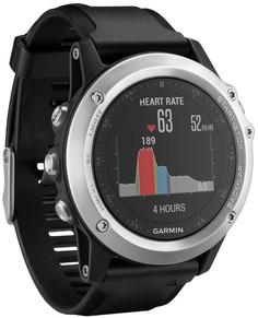 Спортивные часы Garmin Fenix 3 HR с черным ремешком (серебристый)