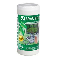 Аксессуар Brauberg Чистящие салфетки для LCD (ЖК)-мониторов сухие и влажные 50+50шт 510121