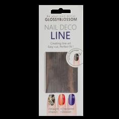Наклейки для ногтей `GLOSSYBLOSSOM` NAIL DECO LINE (серебряные линии)