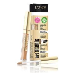 Корректор для лица `EVELINE` ART PROFESSIONAL MAKE-UP тон 08 (light beige) 2 в 1 светоотражающий с кисточкой