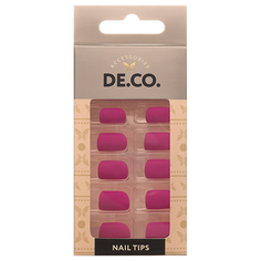 Набор накладных ногтей `DE.CO.` matt fuchsia (24 шт + клеевые стикеры 24 шт) Deco