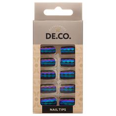 Набор накладных ногтей `DE.CO.` HOLOGRAM dark dream (24 шт + клеевые стикеры 24 шт) Deco