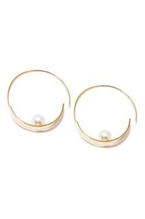 Золотистые серьги-кольца с жемчужинами Lisa Smith