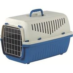 Переноска Marchioro SKIPPER 2F сине-бежевая с металлической дверцей 55x36x33h см для животных