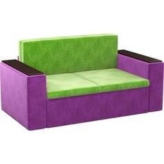 Детский диван АртМебель Арси микровельвет зелено-фиолетовый