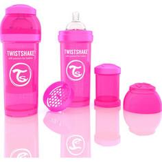 Twistshake Антиколиковая бутылочка для кормления 260 мл. Розовая (780007)