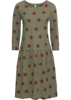 Платье из трикотажа с рисунком звездочек (оливковый/светло-серый) Bonprix