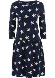 Платье из трикотажа с рисунком звездочек (темно-синий/бежевый) Bonprix