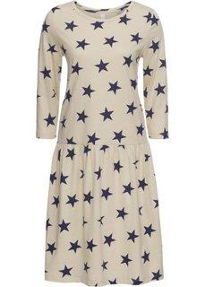 Платье из трикотажа с рисунком звездочек (бежевый/синий) Bonprix