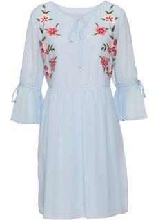 Платье с вышивкой и воланом (синяя пудра) Bonprix