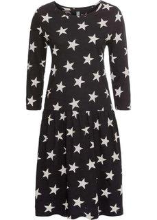 Платье из трикотажа с рисунком звездочек (черный/серебристый матовый) Bonprix