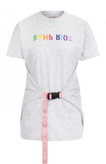 Хлопковая футболка с круглым вырезом и принтом Palm Angels