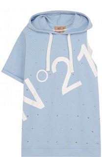 Хлопковое мини-платье асимметричного кроя с капюшоном и нижним платьем No. 21